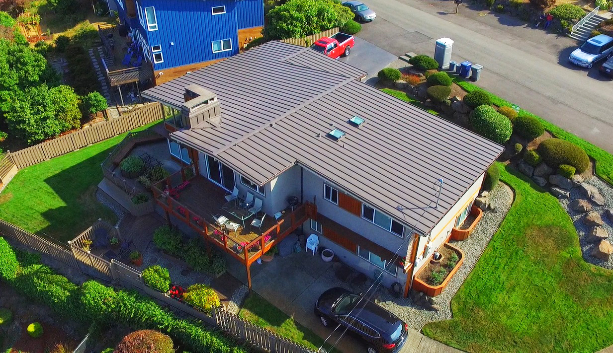 Residential Metal Roof: Lake Washington Aerial View