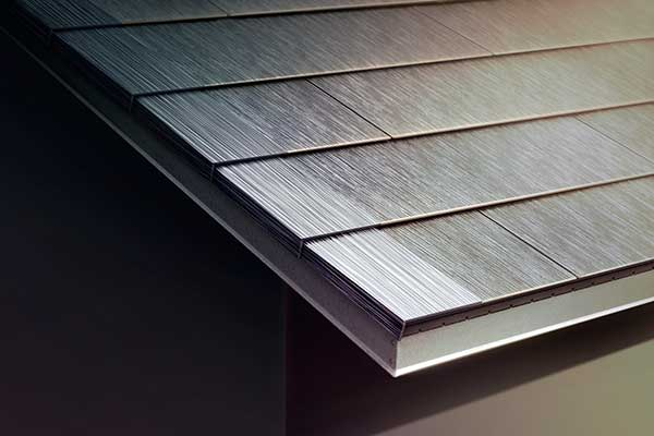 Close up view of Tesla Solar Roof Tiles